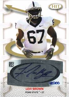 2007 Levi Brown Sage Hit Playmakers Gold Rookie Auto Autograph /100